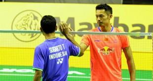 印尼的托米受伤退赛,令5届世界冠军林丹无奈的接受胜利。