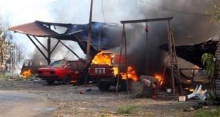 发生火患的车厂及工人宿舍。