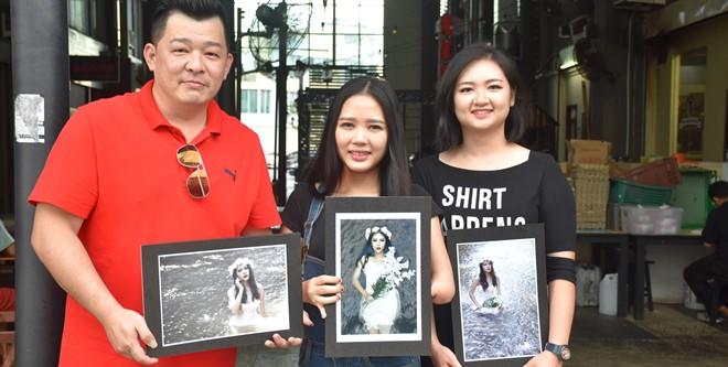 专业摄影师张彼得(左)与专业化妆师冯惠娴(右)联手合作,为Coco(中)打造形象。