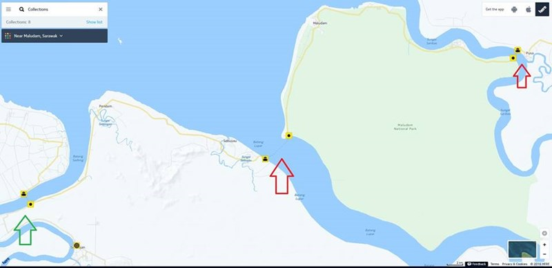 使用新的沿海公路,通过峇当砂隆大桥(青色箭头)后,依然需要经过两个渡轮(红色箭头),即诗巫瑶(峇当鲁巴)及浮刹(峇当泗里末)。